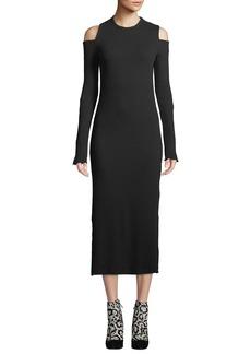 Current/Elliott Going Steady Ribbed Cold-Shoulder Long Dress