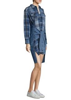 Current/Elliott Hi-Lo Plaid Cotton Shirtdress
