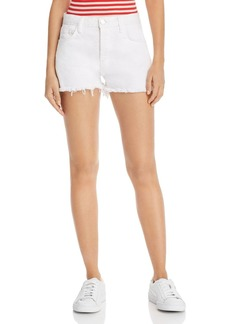 Current/Elliott High-Rise Frayed Denim Shorts in Sugar