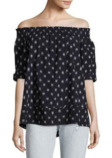Current/Elliott Ikat Cotton Off-The-Shoulder Blouse