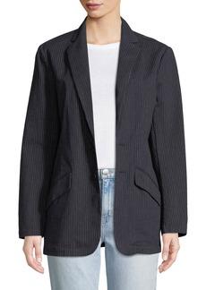 Current/Elliott Late Night Striped Button-Front Blazer