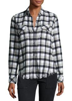 Current/Elliott Perfect Plaid Fray-Hem Shirt