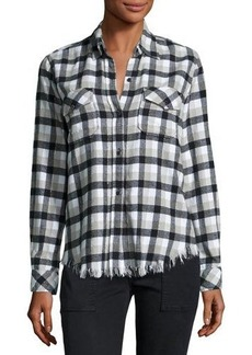 Current/Elliott Perfect Plaid Fray-Hem Shirt