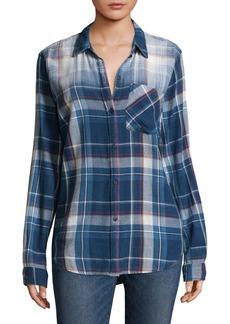 Current/Elliott Plaid Cotton Button-Down Shirt
