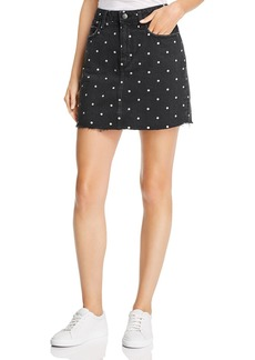 Current/Elliott Polka Dot Denim Mini Skirt