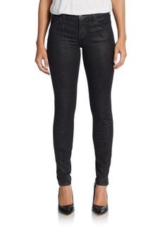 Current/Elliott Lizard-Print Ankle Coated Skinny Jeans