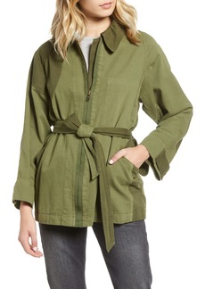 Current/Elliott Relaxed Cotton & Linen Military Jacket