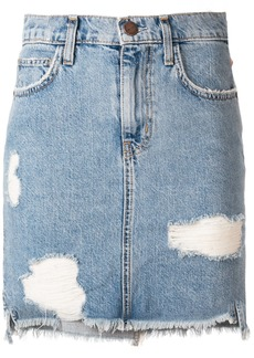 Current/Elliott ripped denim mini skirt - Blue