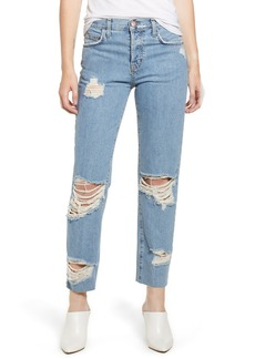 Current/Elliott Ripped Original Straight Leg Jeans (Blue Smoke)