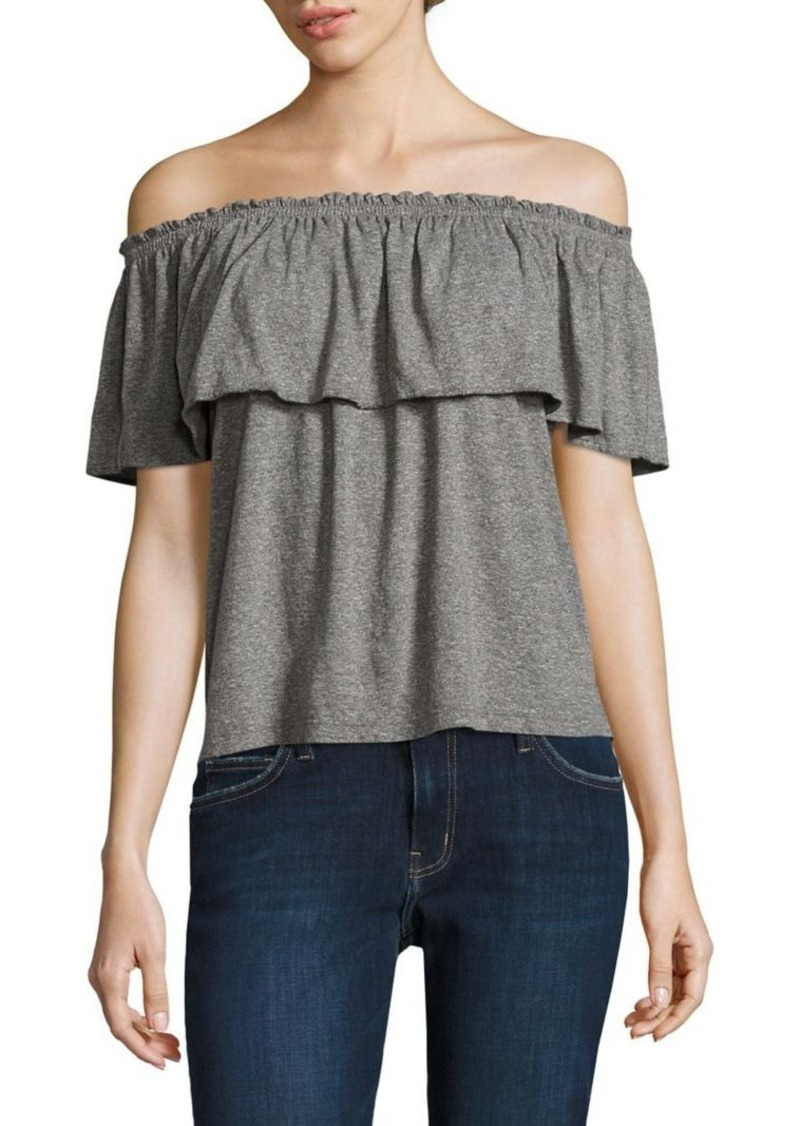 Current/Elliott Ruffled Off-The-Shoulder Top