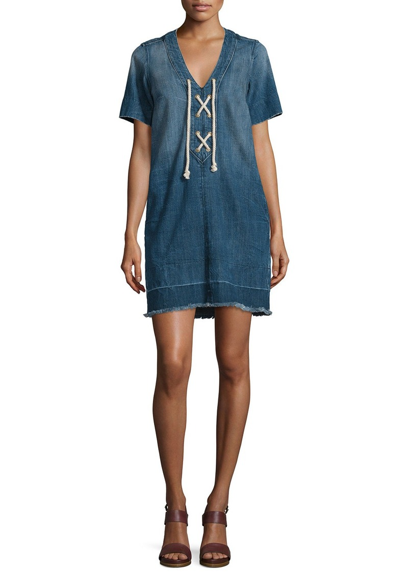 Current/Elliott The All-Laced-Up Short-Sleeve Dress