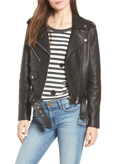 Current/Elliott The Biker Lambskin Leather Jacket