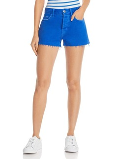 Current/Elliott The Boyfriend Raw-Edge Denim Shorts in Nautical Blue