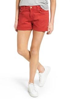 Current/Elliott The Boyfriend Rolled Denim Shorts (Scarlet)