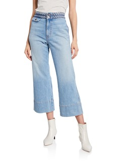 Current/Elliott The Braided High-Waist Cropped Jeans