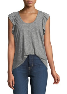 Current/Elliott The Cadence Scoop-Neck Racerback Tank with Ruffle Sleeves