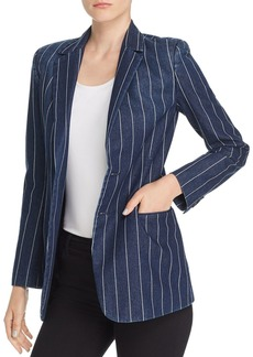 Current/Elliott The Calla Denim Pinstriped Blazer