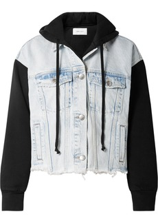 The Celyn hooded distressed denim and cotton-jersey jacket