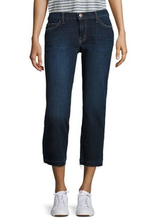Current/Elliott The Cropped Raw Hem Straight-Leg Jeans