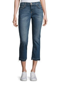 Current/Elliott The Cropped Straight-Leg Jeans with Released Hem