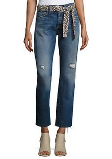 Current/Elliott The Crossover Belted Straight-Leg Jeans with Raw Hem