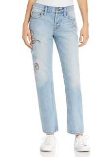 Current/Elliott The Crossover Boyfriend Jeans in Harrison with Embroidery