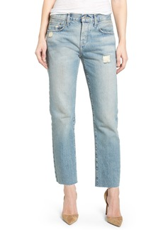 Current/Elliott The Crossover High Waist Straight Leg Jeans (Ashbury Destruct)