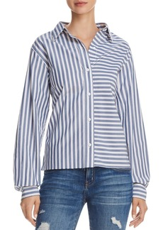 Current/Elliott The Des Open-Back Striped Shirt