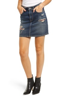 Current/Elliott The Five-Pocket Ripped Denim Miniskirt