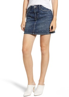 Current/Elliott The Five-Pocket Studded Denim Miniskirt