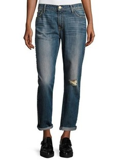 Current/Elliott The Fling Cropped Boyfriend Jeans w/Studs