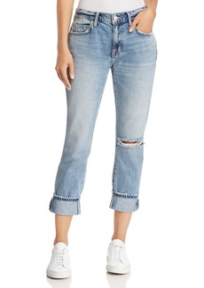 Current/Elliott The Fling Cuffed Cropped Boyfriend Jeans in 2 Year Destroy Rigid Indigo