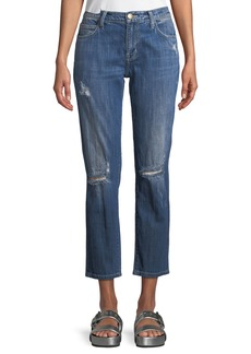 Current/Elliott The Fling Mid-Rise Distressed Straight-Leg