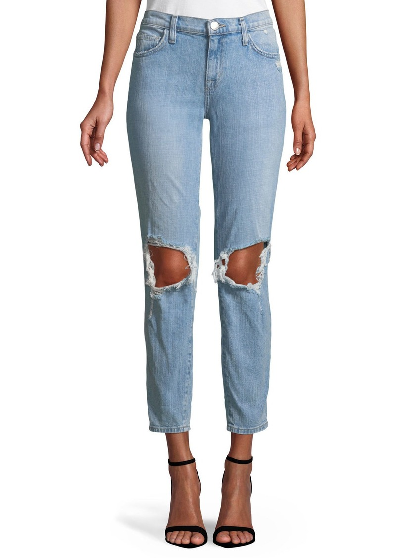 Current/Elliott The Fling Ripped-Knee Denim Jeans  Light Blue