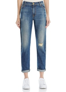 Current/Elliott The Fling Studded Boyfriend Jeans in Whiskey Destroy
