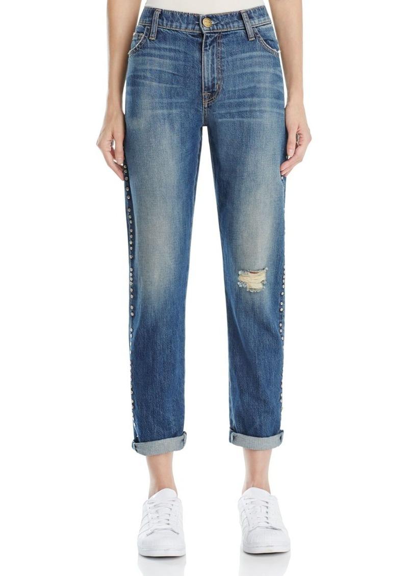 Current/Elliott The Fling Studded Boyfriend Jeans in Whiskey Destroy
