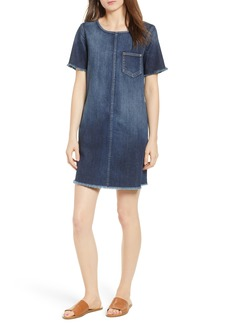 Current/Elliott The Frayed Edge Denim Shift Dress