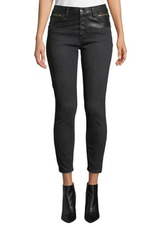 Current/Elliott The Fused High-Waist Stiletto Jeans w/ Faux-Leather