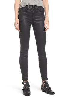 Current/Elliott The High Waist Ankle Skinny Jeans (Black Coated)