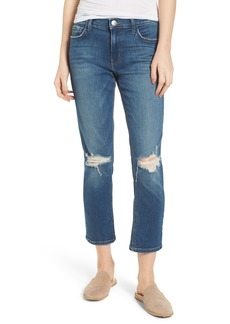 Current/Elliott The High Waist Crop Straight Leg Jeans (Joey Dark Destroy)