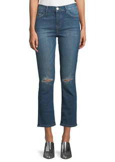 Current/Elliott The High Waist Straight-Leg Cropped Jeans