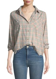 Current/Elliott The Ivie Button-Front Plaid Shirt w/ Paint Splatter