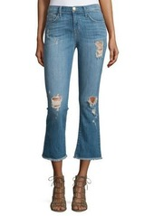 Current/Elliott The Kick Flare-Leg Cropped Jeans