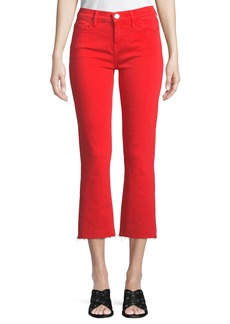 Current/Elliott The Kick Flare-Leg Cropped Jeans with Cut Hem