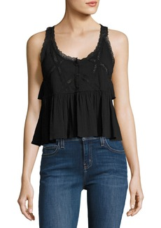 Current/Elliott The Lace Scoop-Neck Tank Top