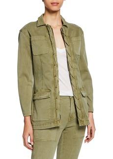Current/Elliott The Laced Zip-Front Denim Jacket