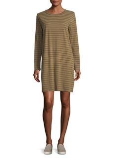 Current/Elliott The Long-Sleeve Striped T-Shirt Dress
