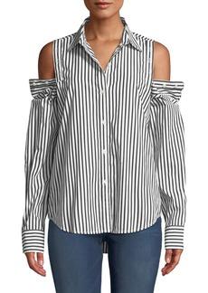 Current/Elliott The Loretta Striped Button-Shoulder Top