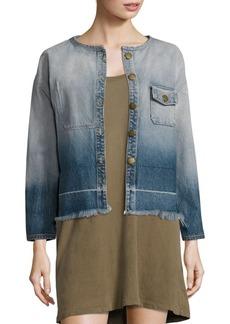 Current/Elliott The Off-Duty Cropped Ombre Denim Jacket