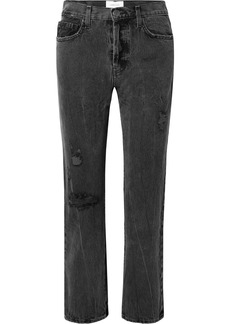 Current/Elliott The Original Straight Distressed High-rise Jeans